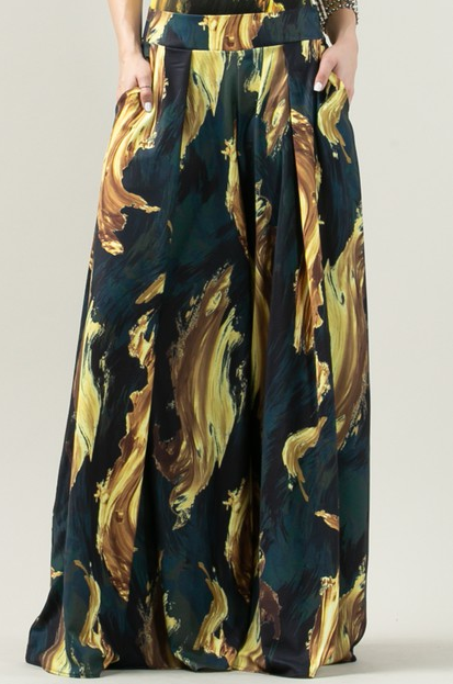 Collette Pant Green Marble