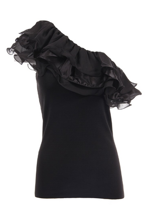 Ruffle One-Shoulder Top Black