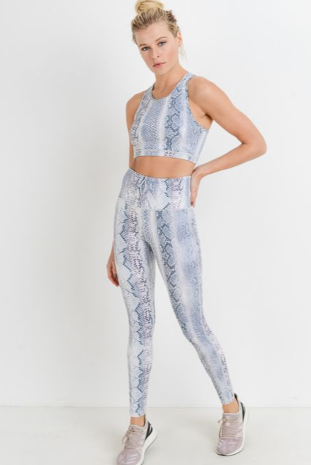 Blue Snake Bra/Pant Set