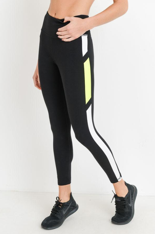 Black/Neon Yellow Leggings
