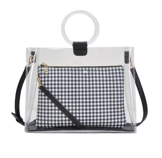 Lucite Circle Handle Tote Black/White Check