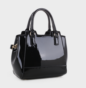 Leslie Mini Tote Black Patent