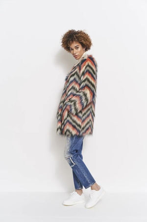 Stassie Jacket Multi Faux Fur
