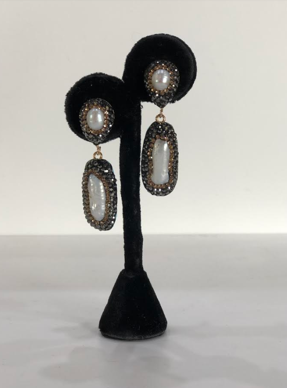 Kylie Earrings Pearl/Gold/Pewter