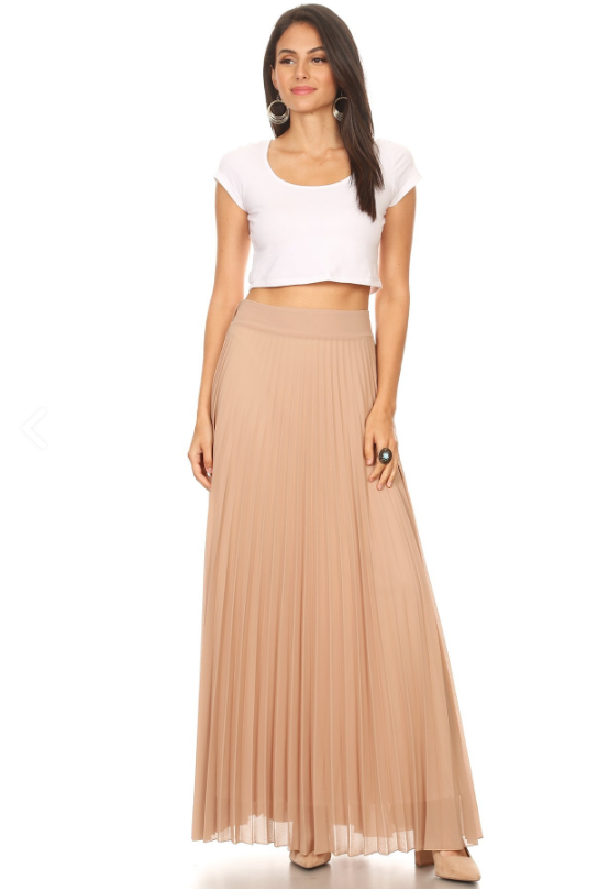 Long Pleated Skirt Taupe