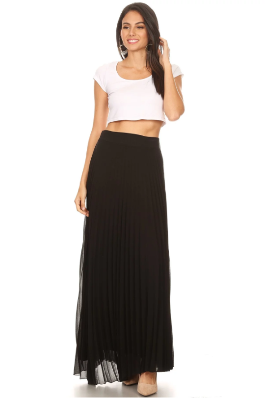 Long Pleated Skirt Black