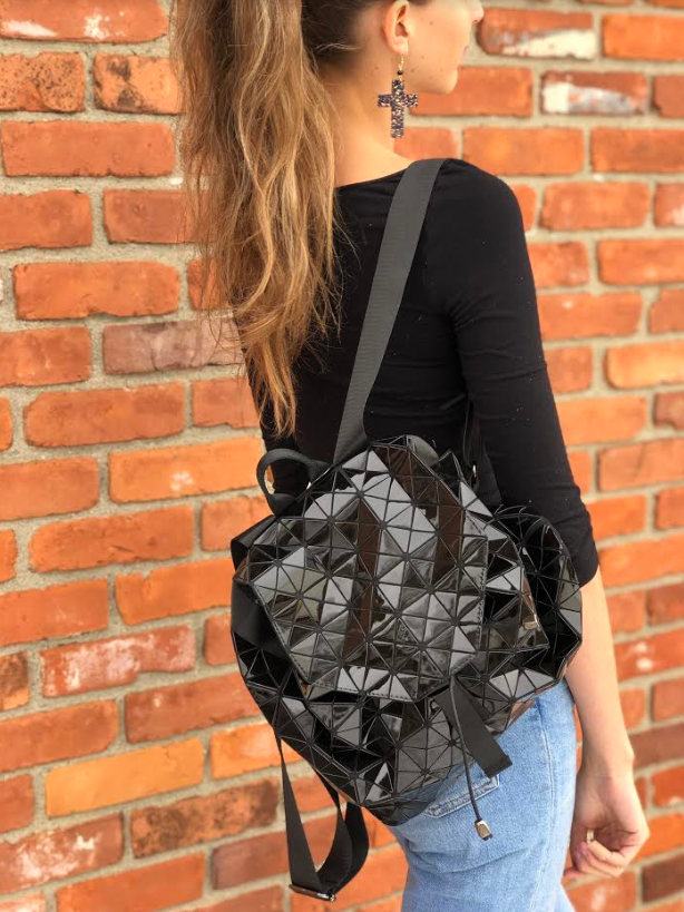 Geometric Patent Backpack Black