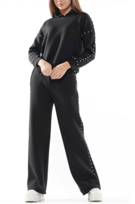 Pia Diamond Jogger Suit Set Black