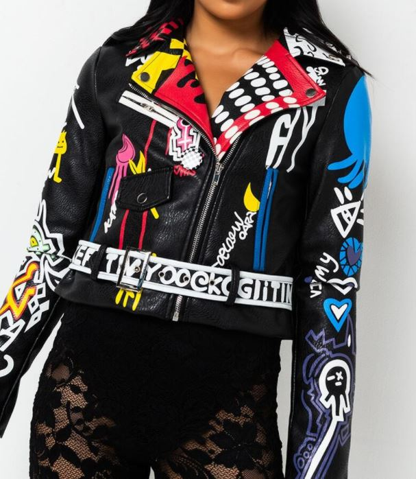 Artsy Moto Jacket Black Multi
