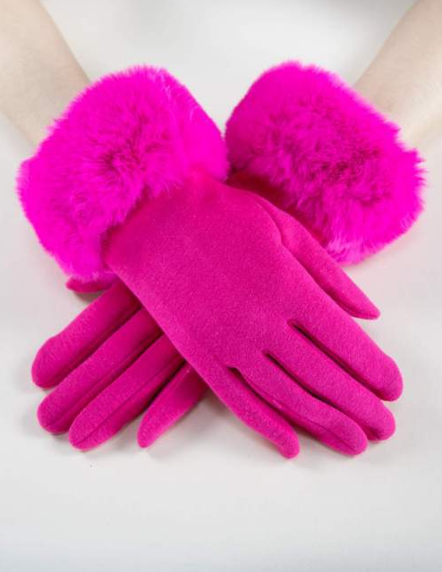 Kinsley Faux Fur Gloves Pink