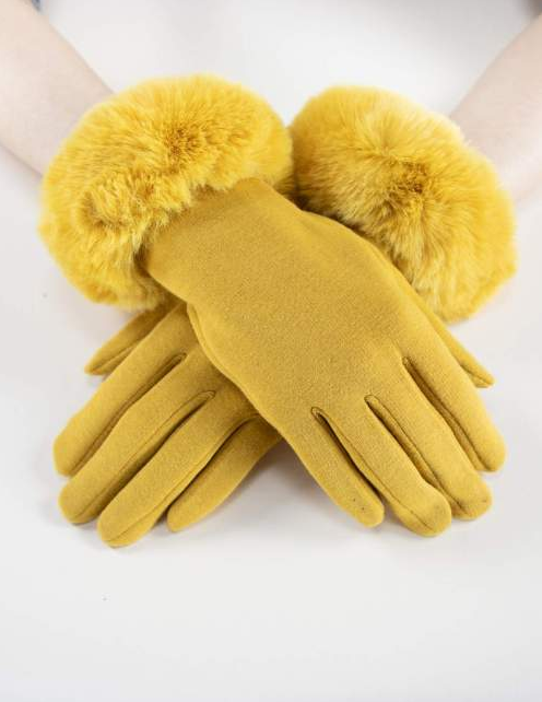 Kinsley Faux Fur Gloves Yellow Gold