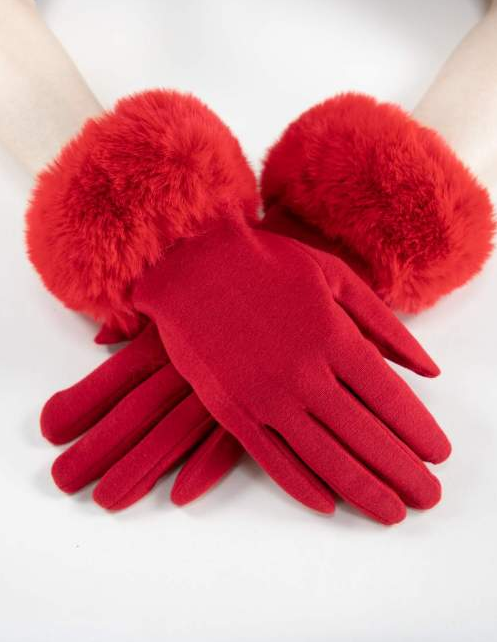 Kinsley Faux Fur Gloves Red