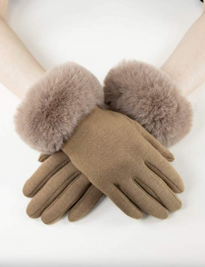 Kinsley Faux Fur Gloves Camel