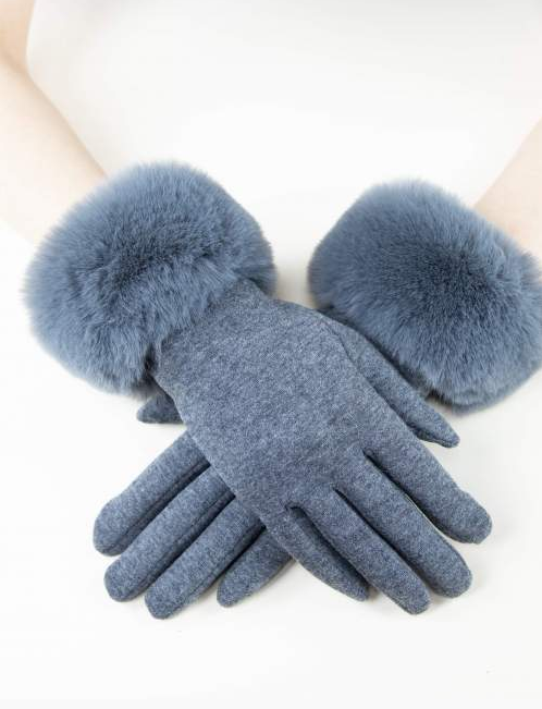 Kinsley Faux Fur Gloves Grey
