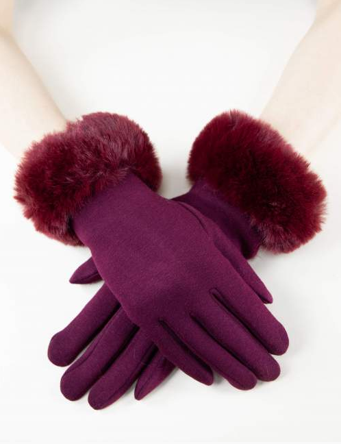 Kinsley Faux Fur Gloves Burgundy