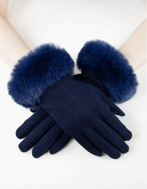 Kinsley Faux Fur Gloves Navy