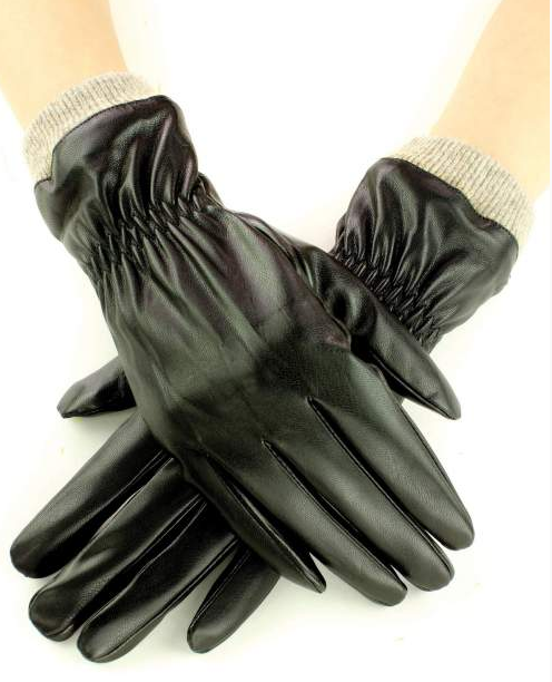 Faux Leather Gloves Black