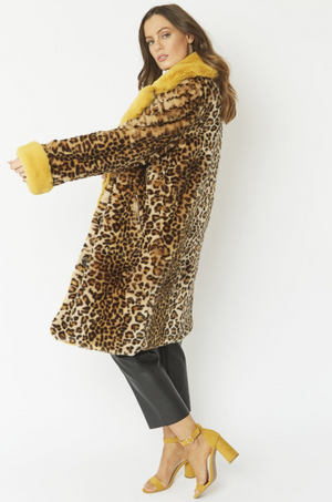 Bardot Coat Leopard Yellow