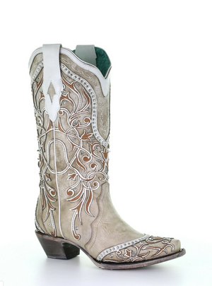 Corral White Overlay Boot A3837