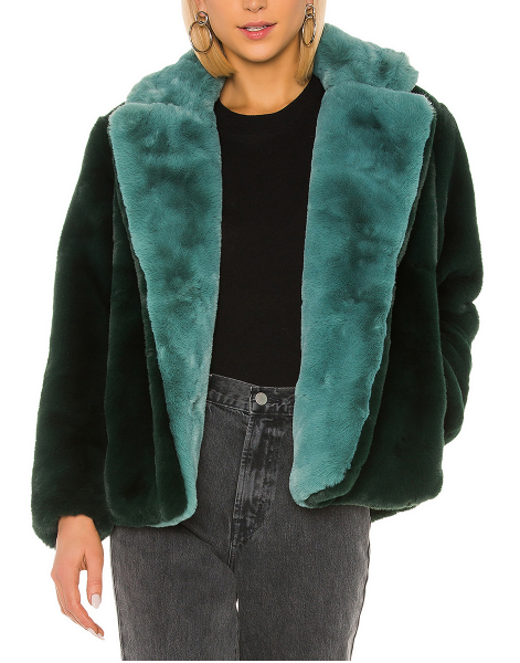 Apparis Kendall Faux Fur Jacket Emerald Green