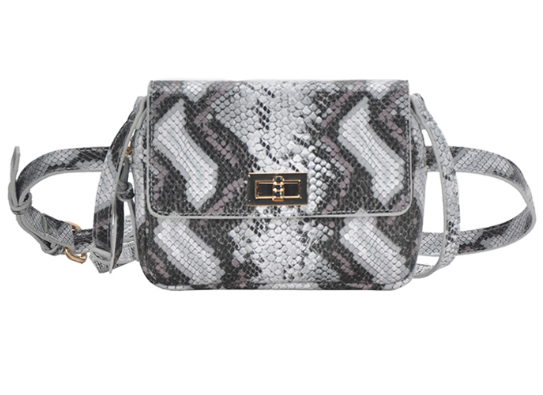 Josephine Fanny Pack Grey Black Snake