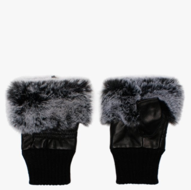 Faux Fur Fingerless Gloves Black Grey