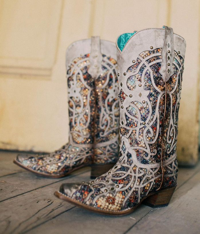 Corral Taupe Glitter Cowboy Boot 3409