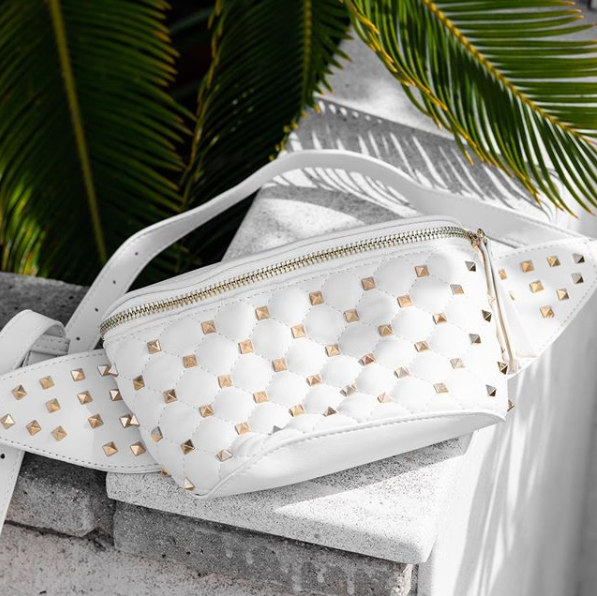Studded Fanny Pack White