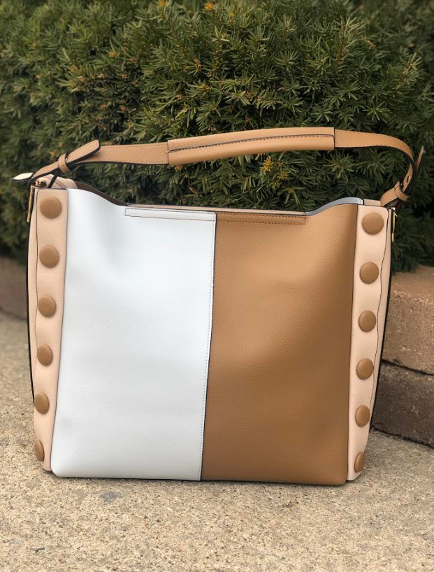Two-Tone Button Bag Brown