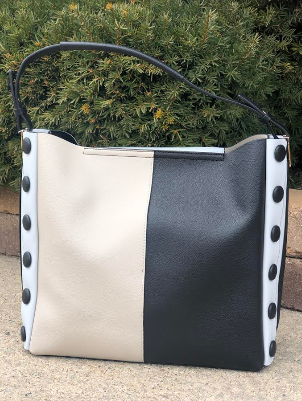 Two-Tone Button Bag Black