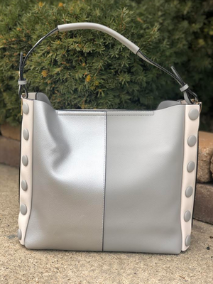 Two-Tone Button Bag Grey/Silver