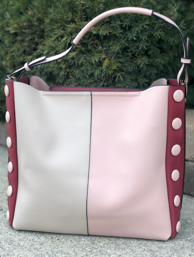 Two-Tone Button Bag Pink