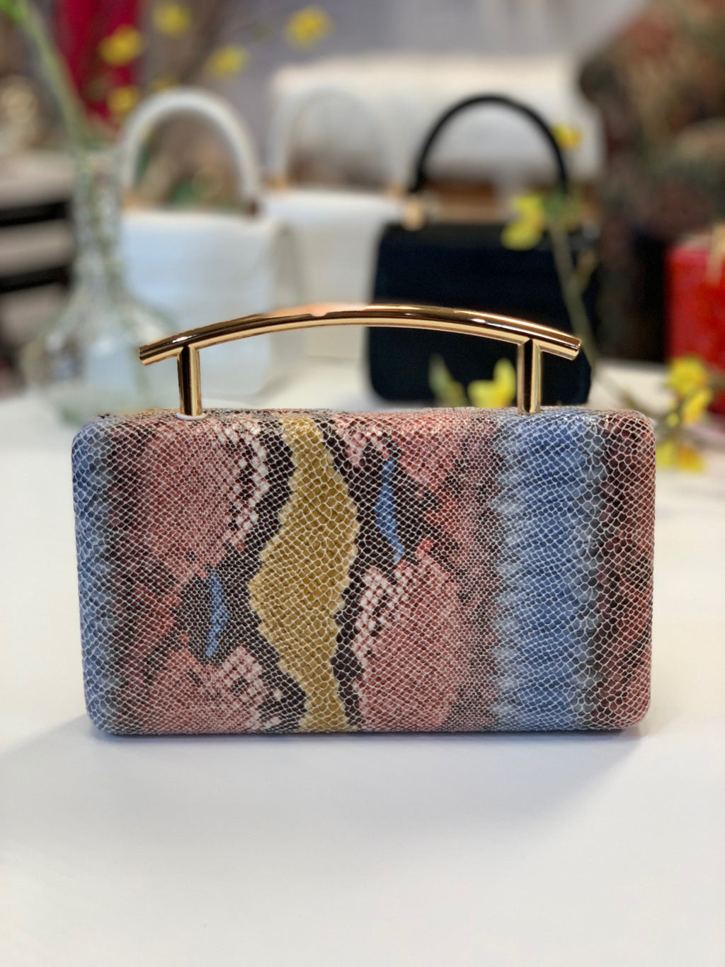 Claudette Curved Clutch Blue Multi