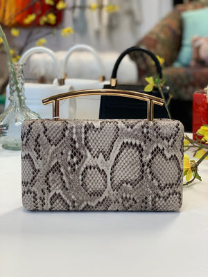 Claudette Curved Clutch Black White Multi