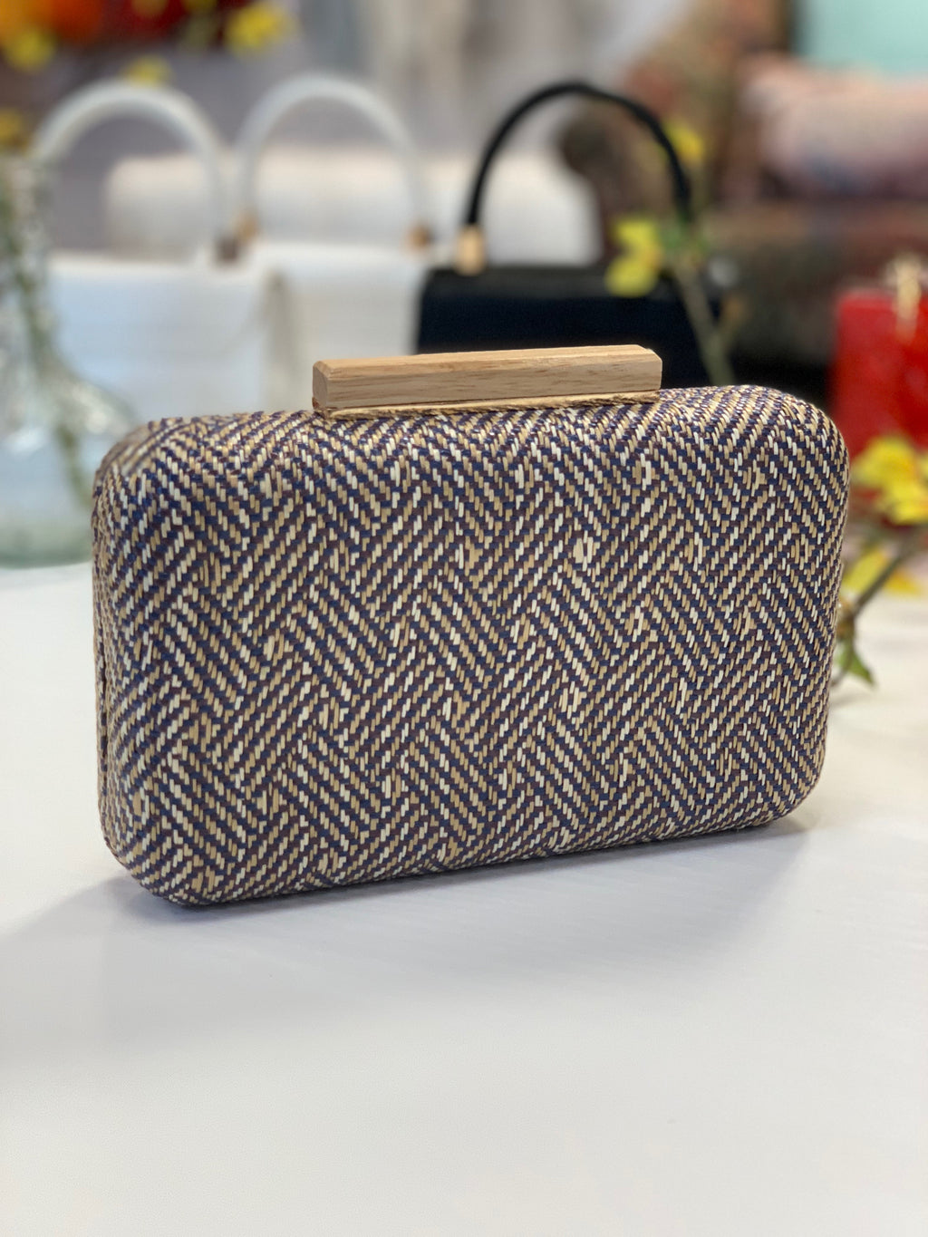 Cicley Woven Clutch Blue