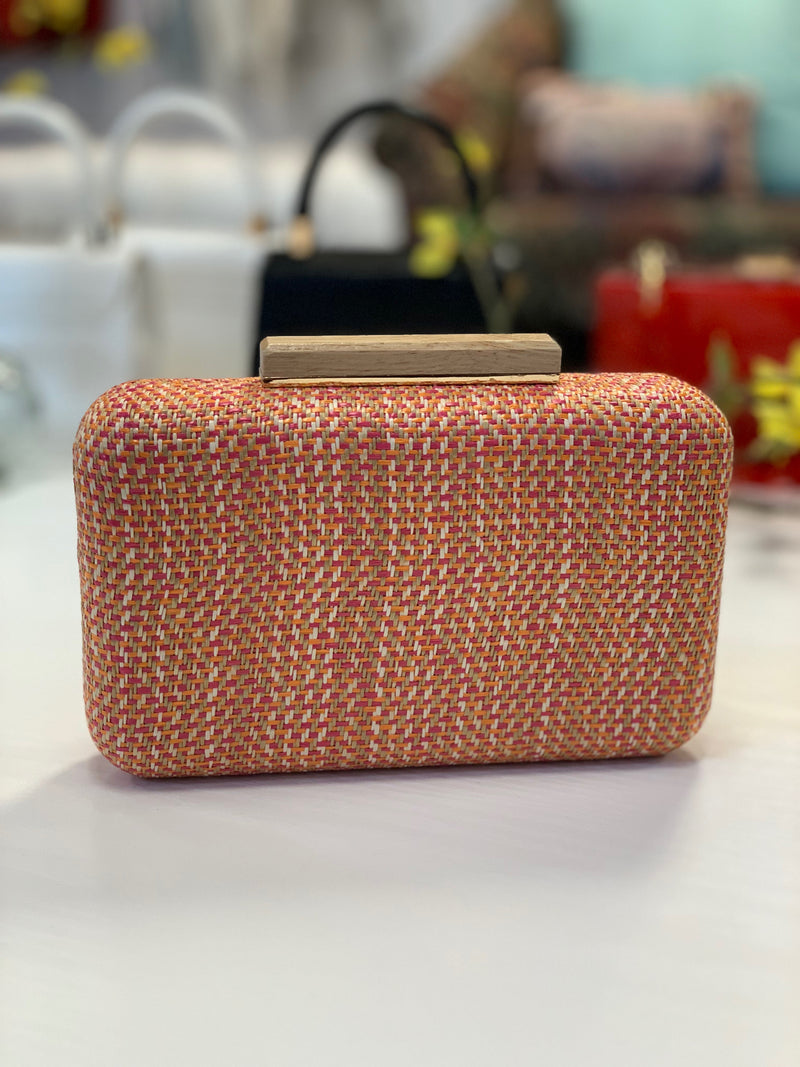 Cicley Woven Clutch Orange