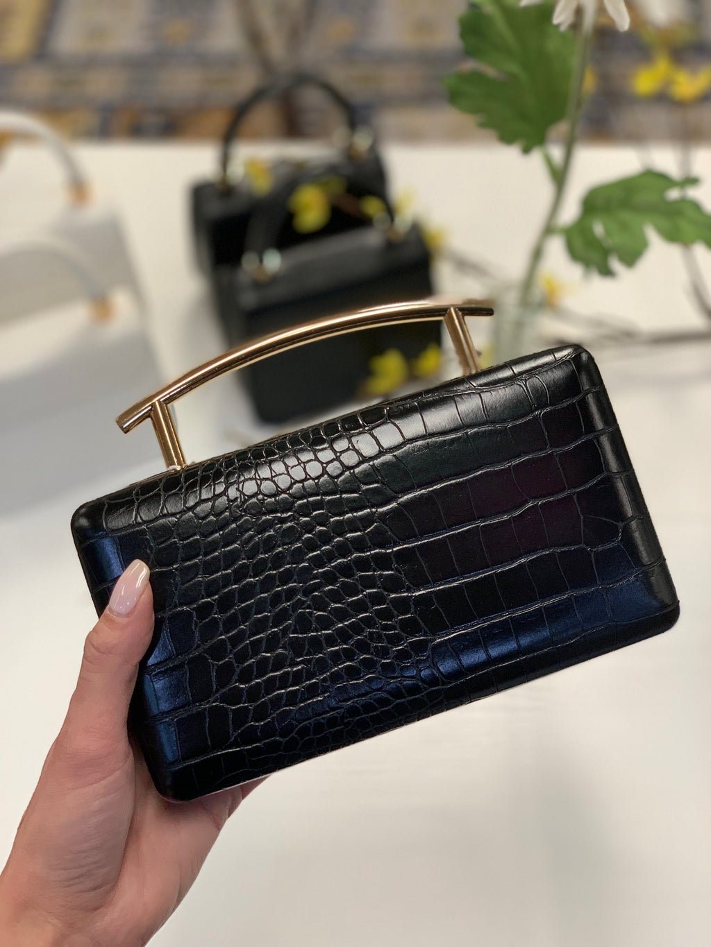 Claudette Curved Clutch Black