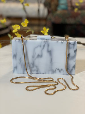Margot Acrylic Clutch Marble