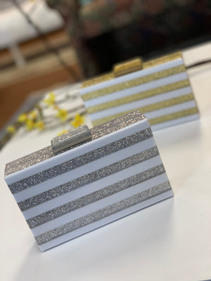 Ariel Acrylic Box Clutch White Silver