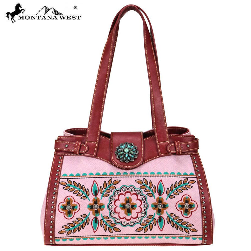 Montana West Embroidered Collection Tote Pink