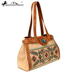 Montana West Embroidered Collection Tote Tan