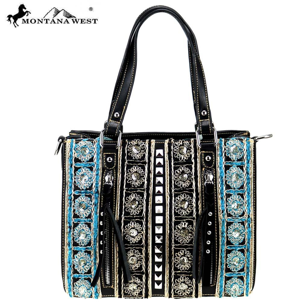 Montana West Embroidered Collection Tote/Crossbody Turq