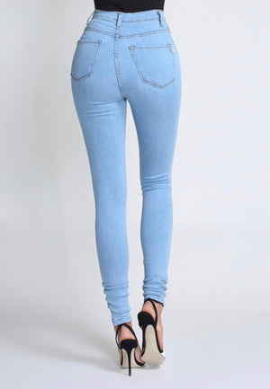 Eliza Button Skinny Jean Light Blue