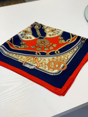 Printed Silk Scarf Red/Navy