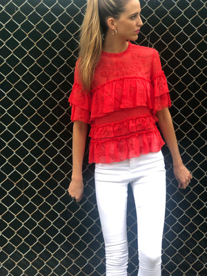 Bella Ruffle Top Coral