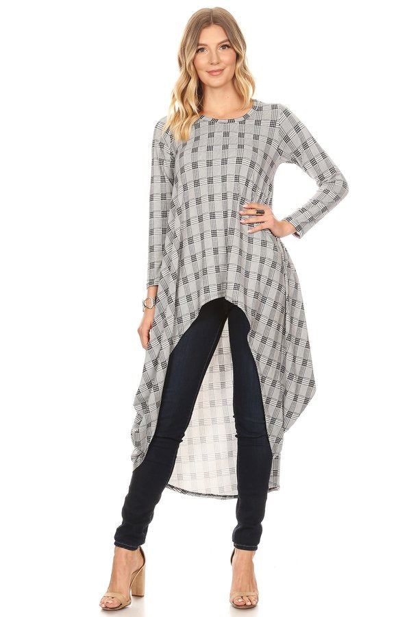 Long Sleeved High-Low Top Black/White Houndstooth