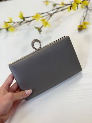 Box Ring Clutch Pewter
