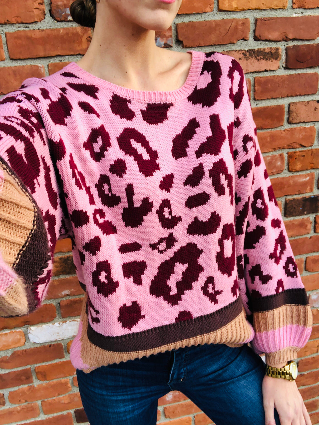 Raegan Sweater Pink Leopard