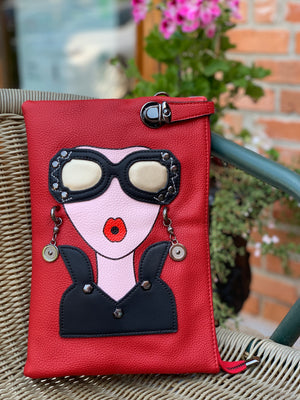 Large Face Clutch Chloe Red