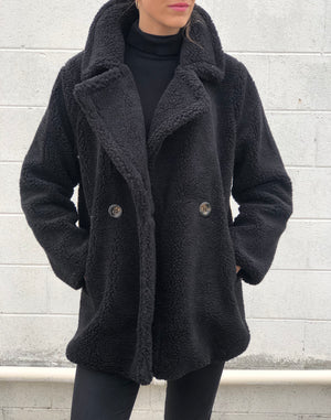 Short Faux Shearling Jacket Black